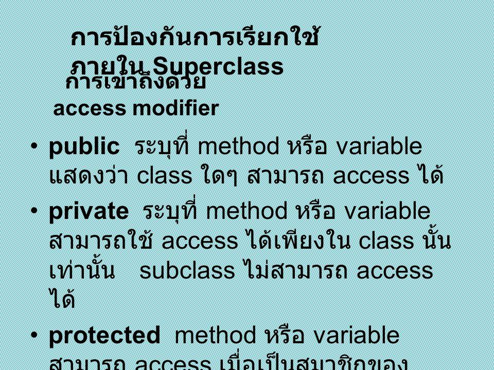 การป้องกันการเรียกใช้ ภายใน Superclass ( ต่อ )