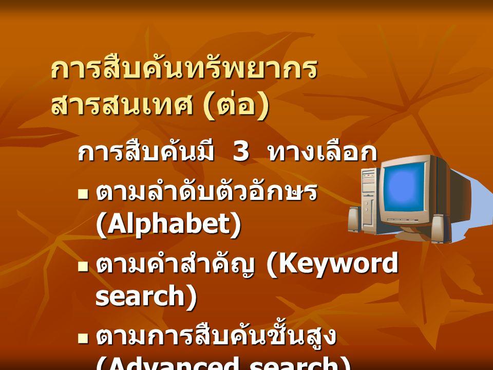 การสืบค้นทรัพยากร สารสนเทศ ( ต่อ ) การสืบค้นมี 3 ทางเลือก ตามลำดับตัวอักษร (Alphabet) ตามลำดับตัวอักษร (Alphabet) ตามคำสำคัญ (Keyword search) ตามคำสำค