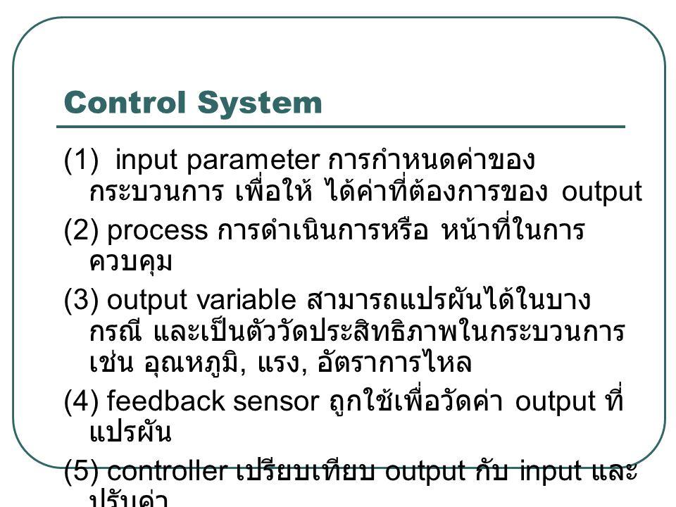 Control System (1) input parameter การกำหนดค่าของ กระบวนการ เพื่อให้ ได้ค่าที่ต้องการของ output (2) process การดำเนินการหรือ หน้าที่ในการ ควบคุม (3) o
