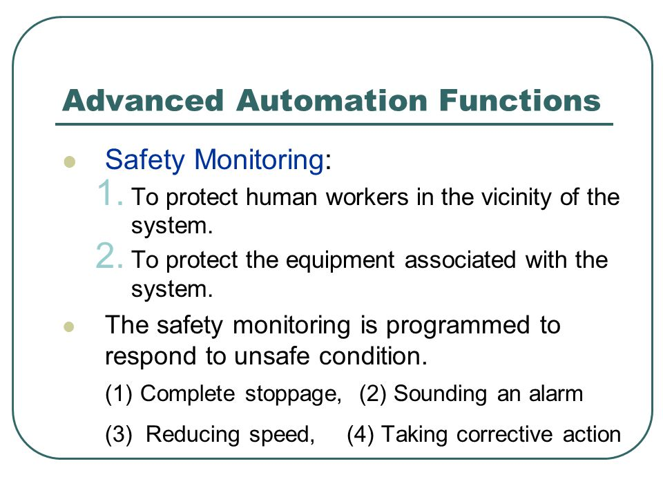 Advanced Automation Functions Safety Monitoring: 1.