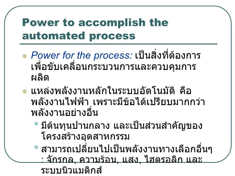 Power to accomplish the automated process Power for the process: เป็นสิ่งที่ต้องการ เพื่อขับเคลื่อนกระบวนการและควบคุมการ ผลิต แหล่งพลังงานหลักในระบบอั