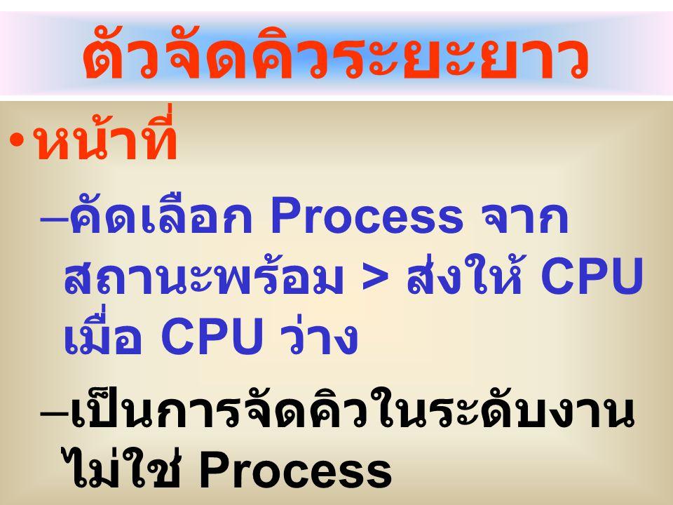 ตัวจัดคิวระยะยาว หน้าที่ – คัดเลือก Process จาก สถานะพร้อม > ส่งให้ CPU เมื่อ CPU ว่าง – เป็นการจัดคิวในระดับงาน ไม่ใช่ Process – การคัดเลือกงานและจะม