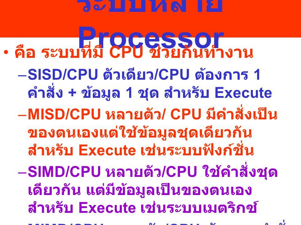 การทำงานของระบบหลาย Processor เพื่อให้ CPU แต่ละตัวช่วยกัน ทำงาน / ลดเวลาในการทำงาน / CPU แต่ละตัวสามารถเชื่อมโยง ข้อมูลถึงกันได้ การเชื่อมโยงอย่างหลวม Processor แต่ละตัวมีหน่วยความจำหลักและ ความจำสำรองเป็นของตนเอง ติดต่อ ข้อมูลผ่านช่องสื่อสารร่วม การเชื่อมโยงอย่างแน่น Processor แต่ละตัวสามารถใช้หน่วยความจำ หลักและความจำสำรองร่วมกันได้ และอาจใช้ OS ต่างกันก็ได้ ติดต่อ ข้อมูลผ่านช่องสื่อสารร่วม เรียกว่า ระบบ Master -Slave