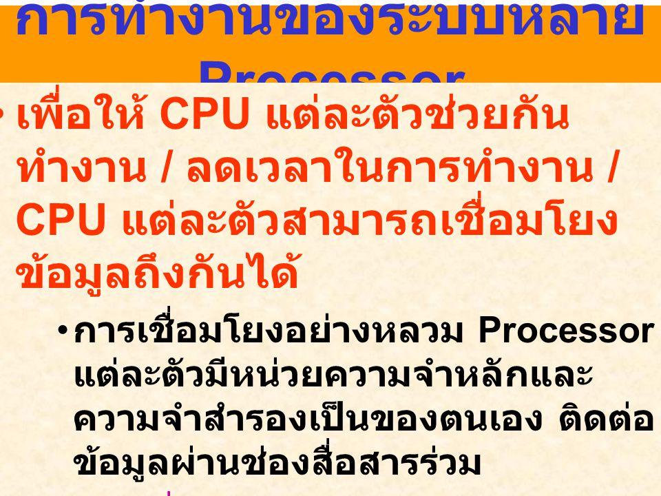 การทำงานของระบบหลาย Processor เพื่อให้ CPU แต่ละตัวช่วยกัน ทำงาน / ลดเวลาในการทำงาน / CPU แต่ละตัวสามารถเชื่อมโยง ข้อมูลถึงกันได้ การเชื่อมโยงอย่างหลว