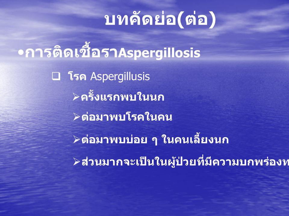  โรค Aspergillusis  ครั้งแรกพบในนก  ต่อมาพบโรคในคน  ส่วนมากจะเป็นในผู้ป่วยที่มีความบกพร่องทางภูมิคุ้มกัน บทคัดย่อ ( ต่อ ) การติดเชื้อรา Aspergillo