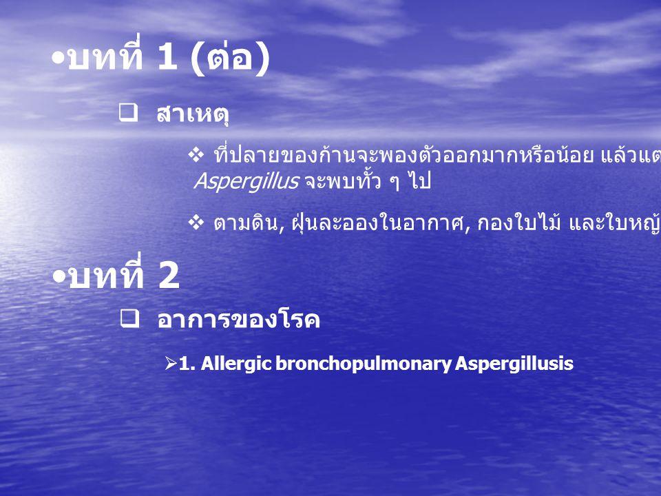บทที่ 2  อาการของโรค  พบบ่อยมาก  เกิดจากการสูดดมสปอร์  โรคเป็นแบบเรื้อรัง  ผู้ป่วยมีอาการหืด  การติดเชื้อราในปอดที่เชื้อราก่อตัวเป็นก้อน  โรคนื้อาจเป็นแบบมีอาการหรือไม่มีอาการ  เชื้อเข้าร่างกายโดยการหายใจ หรือเข้าทางบาดแผล  2.
