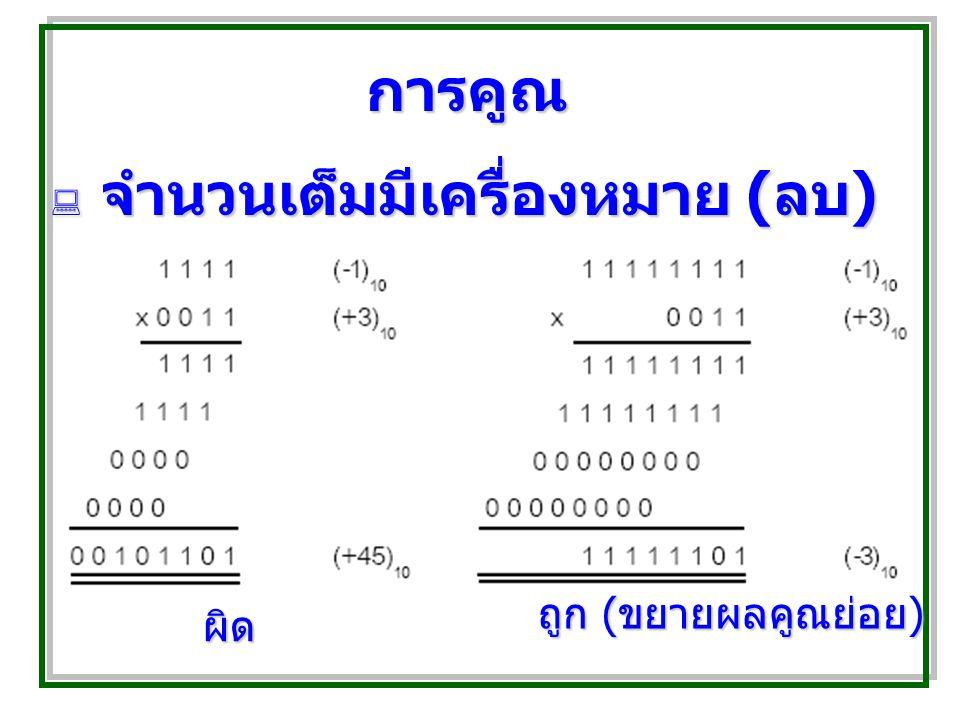การคูณ  จำนวนเต็มมีเครื่องหมาย ( ลบ ) ผิด ถูก ( ขยายผลคูณย่อย )