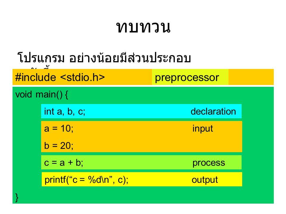 """ทบทวน โปรแกรม อย่างน้อยมีส่วนประกอบ ดังนี้ #include void main() { int a, b, c; a = 10; b = 20; c = a + b; printf(""""c = %d\n"""", c); } preprocessor int a,"""