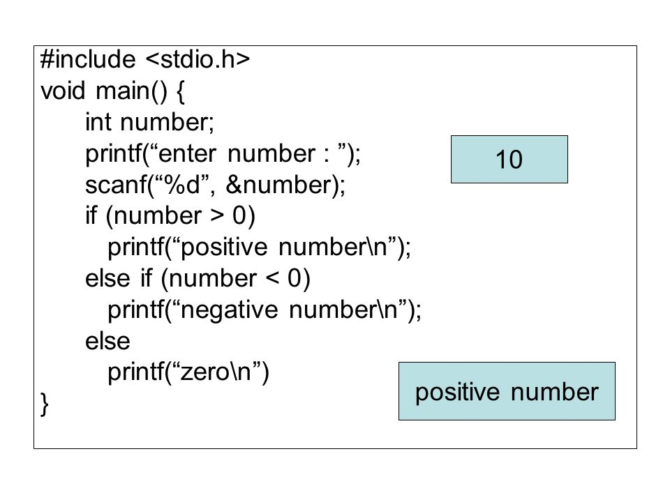 "#include void main() { int number; printf(""enter number : ""); scanf(""%d"", &number); if (number > 0) printf(""positive number\n""); else if (number < 0)"