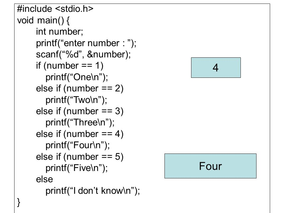 "#include void main() { int number; printf(""enter number : ""); scanf(""%d"", &number); if (number == 1) printf(""One\n""); else if (number == 2) printf(""Tw"