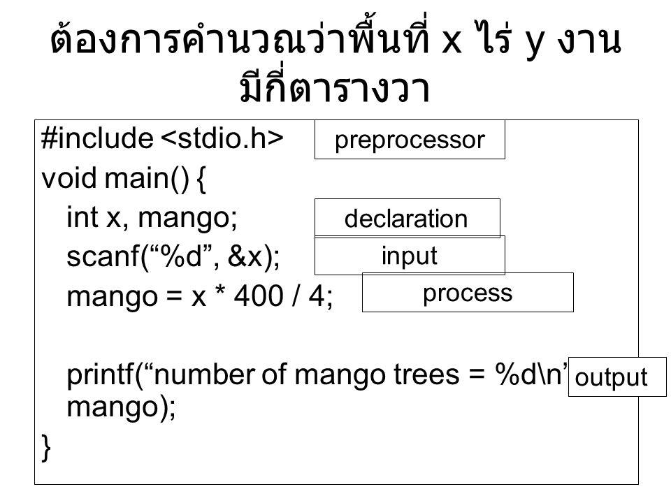 """ต้องการคำนวณว่าพื้นที่ x ไร่ y งาน มีกี่ตารางวา #include void main() { int x, mango; scanf(""""%d"""", &x); mango = x * 400 / 4; printf(""""number of mango tre"""
