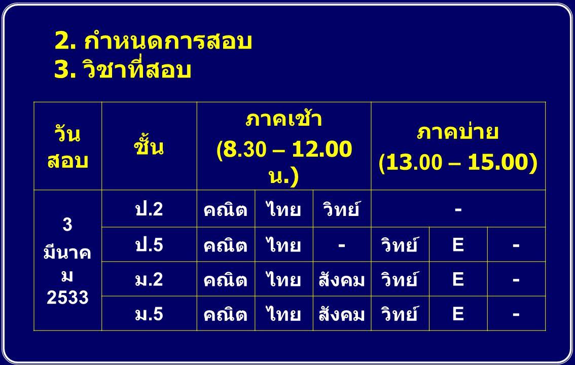 2. กำหนดการสอบ 3. วิชาที่สอบ วัน สอบ ชั้น ภาคเช้า (8.30 – 12.00 น.) ภาคบ่าย (13.00 – 15.00) 3 มีนาค ม 2533 ป.2 คณิตไทยวิทย์ - ป.5 คณิตไทย - วิทย์ E- ม