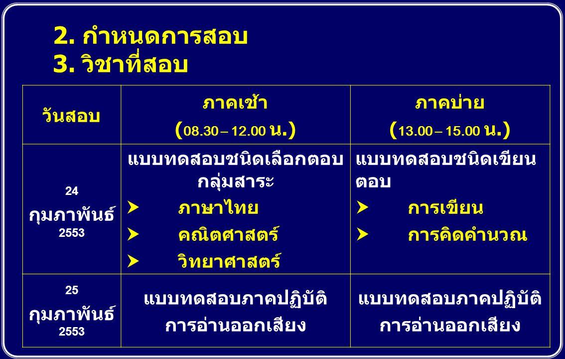 2. กำหนดการสอบ 3. วิชาที่สอบ วันสอบ ภาคเช้า ( 08.30 – 12.00 น.) ภาคบ่าย ( 13.00 – 15.00 น.) 24 กุมภาพันธ์ 2553 แบบทดสอบชนิดเลือกตอบ กลุ่มสาระ  ภาษาไท