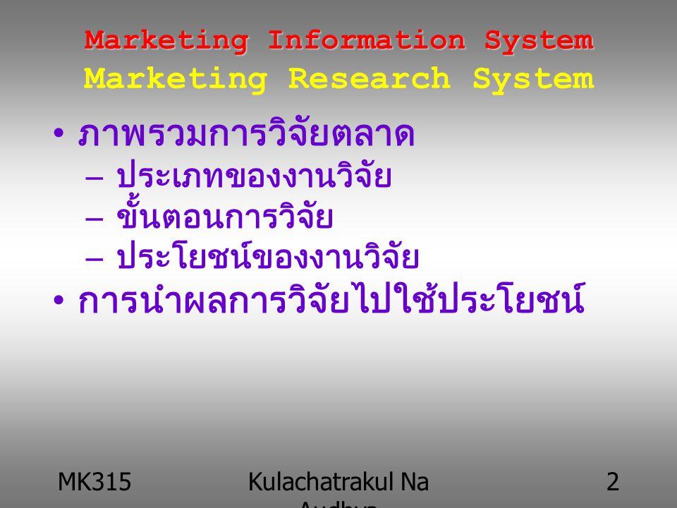 MK315Kulachatrakul Na Audhya 3 Marketing Information System Marketing Information System Marketing Research System ให้นักศึกษาอธิบายความหมายต่อไปนี้ –การวิจัยการตลาด –ขั้นตอนการวิจัยตลาด –ประโยชน์ของการวิจัยตลาด ให้ทำลงใน Discussion Forum ยกตัวอย่างงานวิจัยตลาดมาคนละ 1 เรื่อง –อ่านผลวิเคราะห์และสรุป –จัดทำเป็นรายงานคนละ 1 ฉบับ ให้ทำส่งเป็นรายงานลงใน work bin