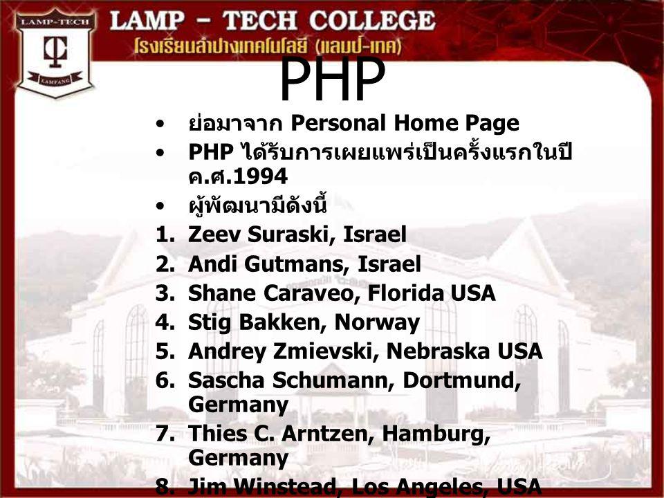 PHP ย่อมาจาก Personal Home Page PHP ได้รับการเผยแพร่เป็นครั้งแรกในปี ค. ศ.1994 ผู้พัฒนามีดังนี้ 1.Zeev Suraski, Israel 2.Andi Gutmans, Israel 3.Shane