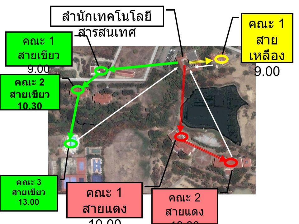 สำนักเทคโนโลยี สารสนเทศ คณะ 1 สายเขียว 9.00 คณะ 2 สายเขียว 10.30 คณะ 3 สายเขียว 13.00 คณะ 1 สายแดง 10.00 คณะ 2 สายแดง 13.00 คณะ 1 สาย เหลือง 9.00