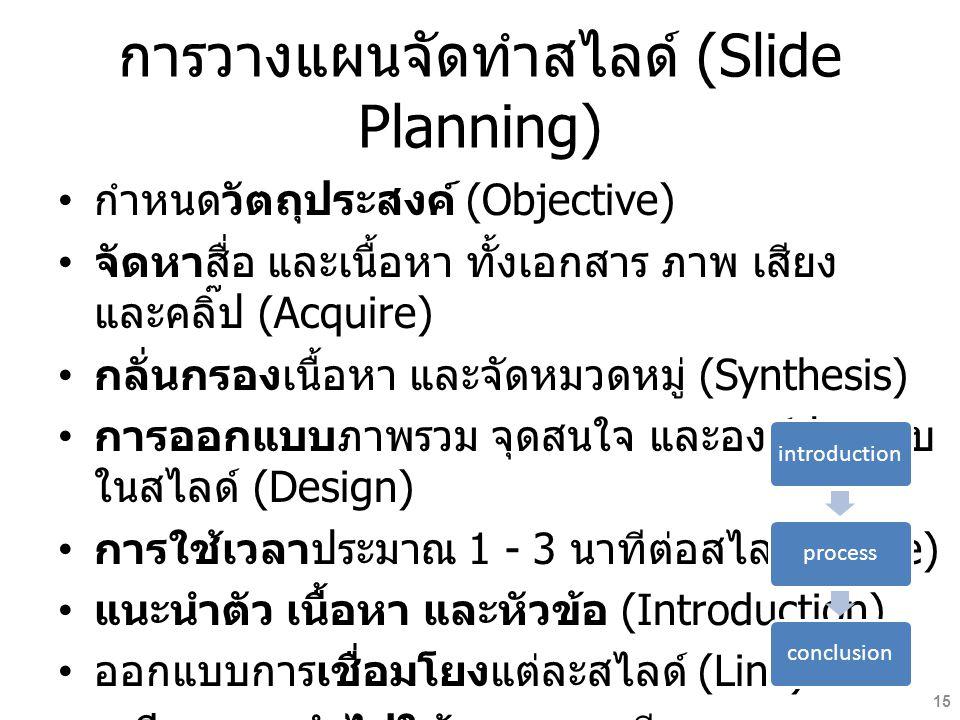 การวางแผนจัดทำสไลด์ (Slide Planning) กำหนดวัตถุประสงค์ (Objective) จัดหาสื่อ และเนื้อหา ทั้งเอกสาร ภาพ เสียง และคลิ๊ป (Acquire) กลั่นกรองเนื้อหา และจัดหมวดหมู่ (Synthesis) การออกแบบภาพรวม จุดสนใจ และองค์ประกอบ ในสไลด์ (Design) การใช้เวลาประมาณ 1 - 3 นาทีต่อสไลด์ (Time) แนะนำตัว เนื้อหา และหัวข้อ (Introduction) ออกแบบการเชื่อมโยงแต่ละสไลด์ (Link) เตรียมการนำไปใช้ แสง และเสียง (Application) introductionprocessconclusion 15
