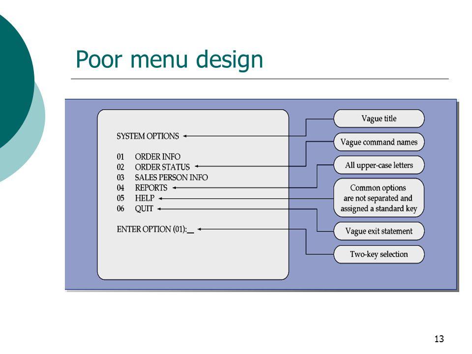 13 Poor menu design