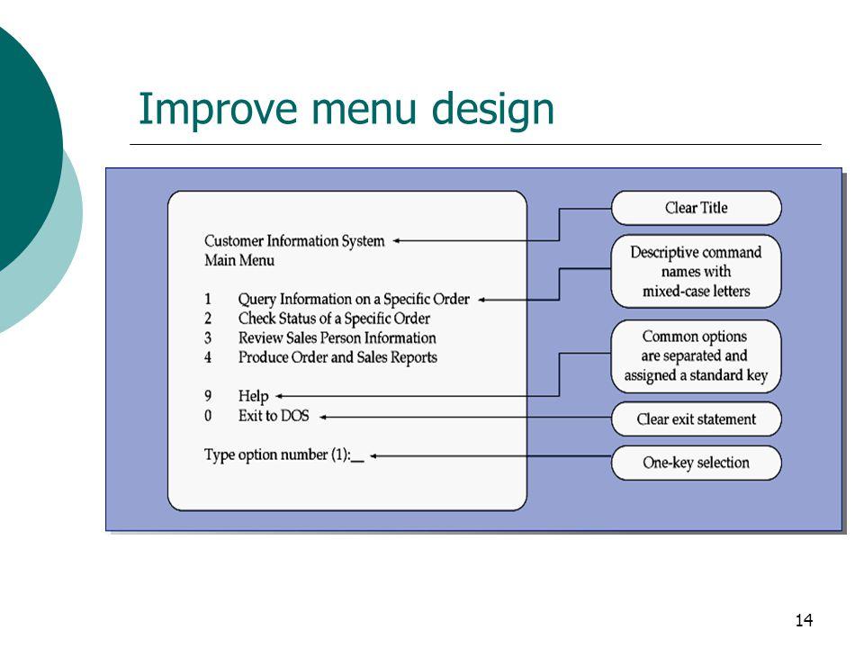 14 Improve menu design