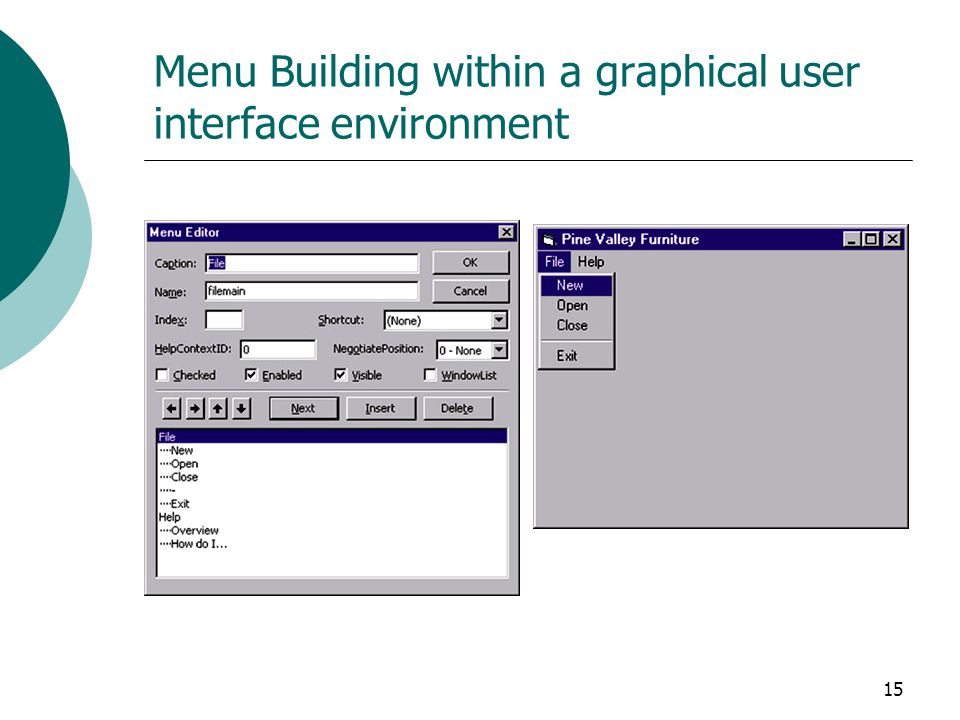 15 Menu Building within a graphical user interface environment