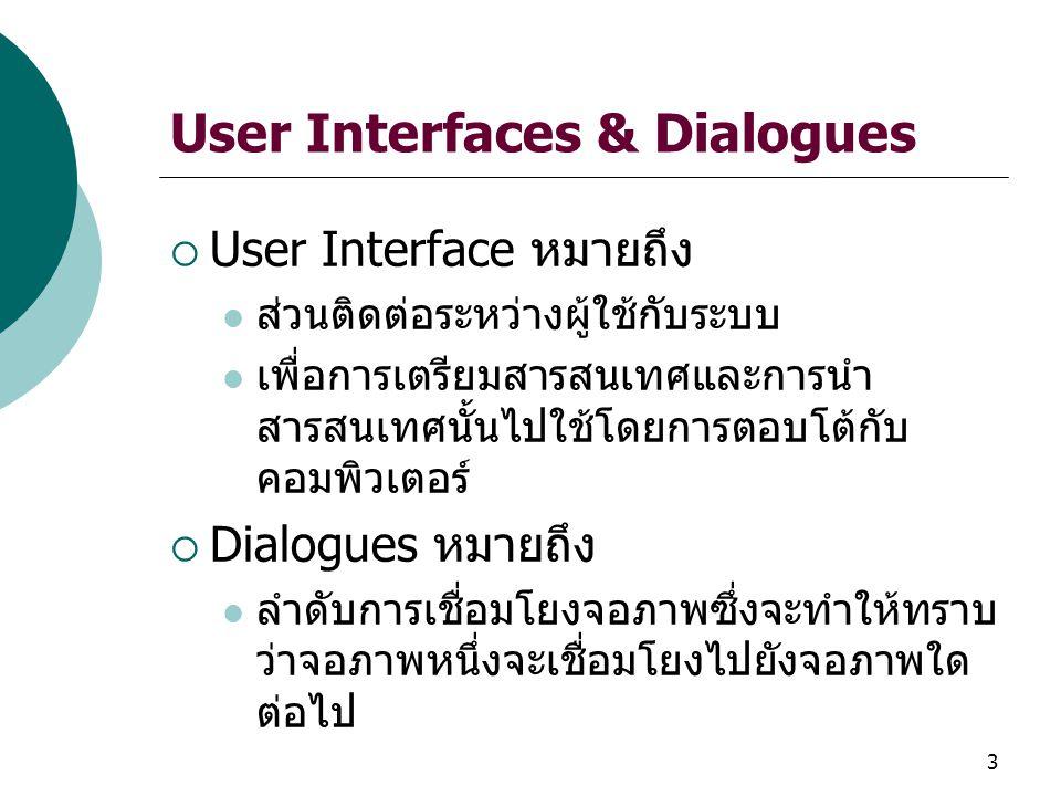 3 User Interfaces & Dialogues  User Interface หมายถึง ส่วนติดต่อระหว่างผู้ใช้กับระบบ เพื่อการเตรียมสารสนเทศและการนำ สารสนเทศนั้นไปใช้โดยการตอบโต้กับ คอมพิวเตอร์  Dialogues หมายถึง ลำดับการเชื่อมโยงจอภาพซึ่งจะทำให้ทราบ ว่าจอภาพหนึ่งจะเชื่อมโยงไปยังจอภาพใด ต่อไป