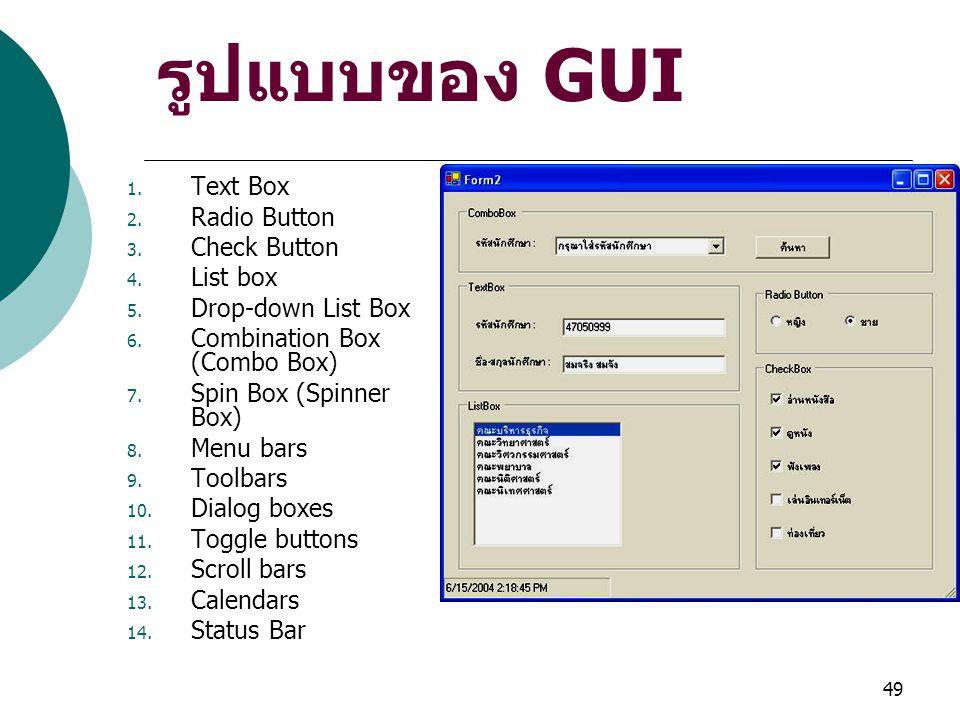 49 รูปแบบของ GUI 1. Text Box 2. Radio Button 3. Check Button 4. List box 5. Drop-down List Box 6. Combination Box (Combo Box) 7. Spin Box (Spinner Box