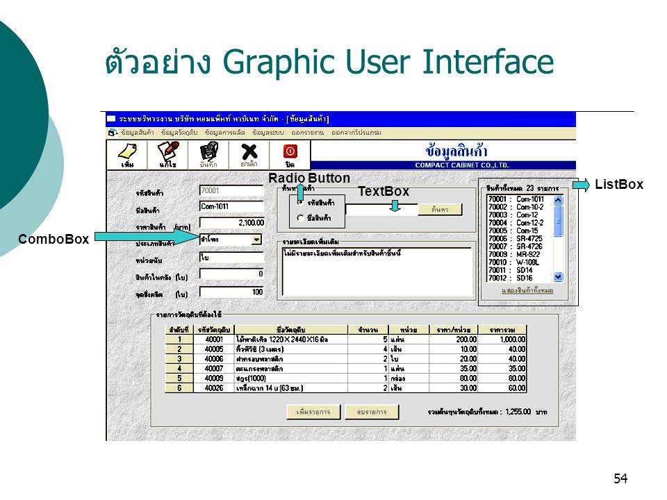 54 ตัวอย่าง Graphic User Interface ListBox TextBox Radio Button ComboBox