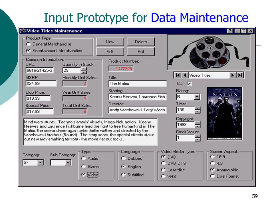 59 Input Prototype for Data Maintenance