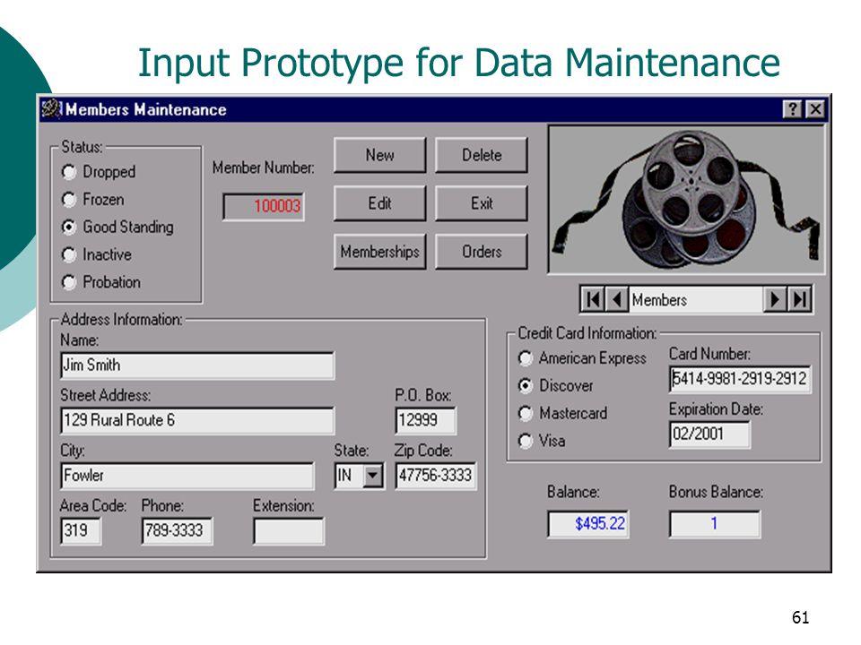 61 Input Prototype for Data Maintenance