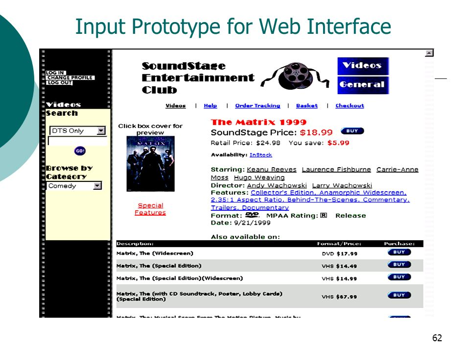 62 Input Prototype for Web Interface