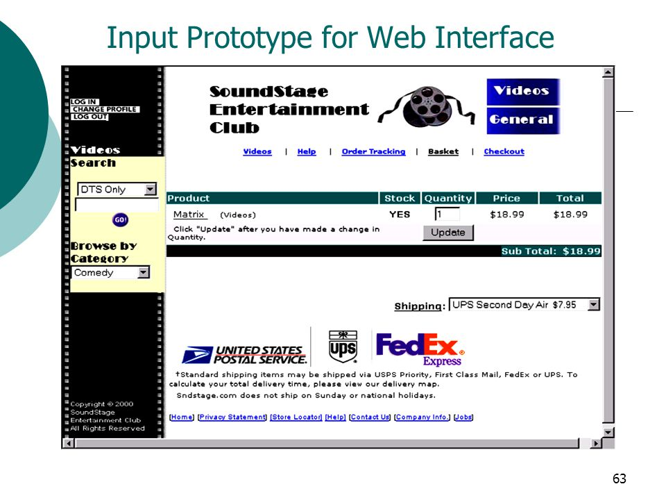 63 Input Prototype for Web Interface