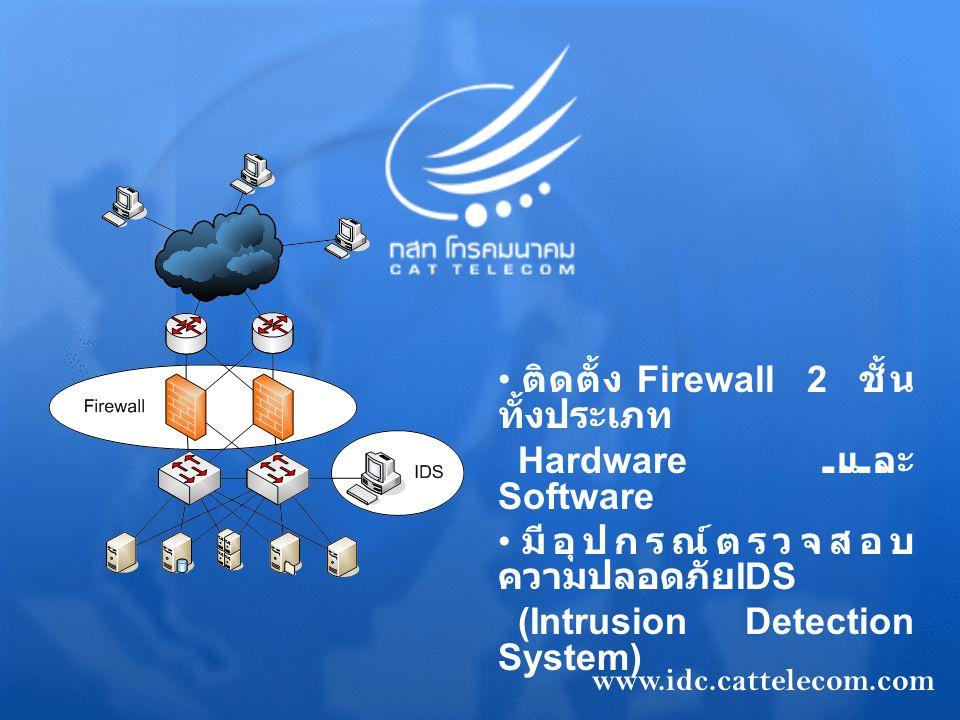 ติดตั้ง Firewall 2 ชั้น ทั้งประเภท Hardware และ Software มีอุปกรณ์ตรวจสอบ ความปลอดภัย IDS (Intrusion Detection System) www.idc.cattelecom.com