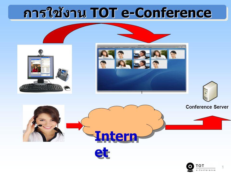 2 System Architecture for Total Solution of TOT e-Conference Chiangmai Bangkok Phuket องค์กรของลูกค้า IP-VPN TOT Conference Server TOT ISP ADSL TOT บ้านลูกค้า