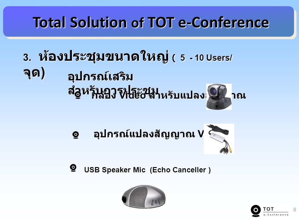 Total Solution of TOT e-Conference Total Solution of TOT e-Conference 3.