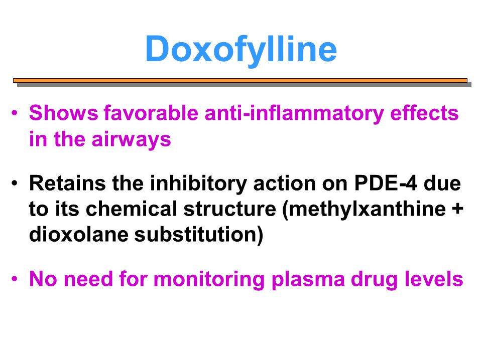 Doxofylline Shows favorable anti-inflammatory effects in the airways Retains the inhibitory action on PDE-4 due to its chemical structure (methylxanth