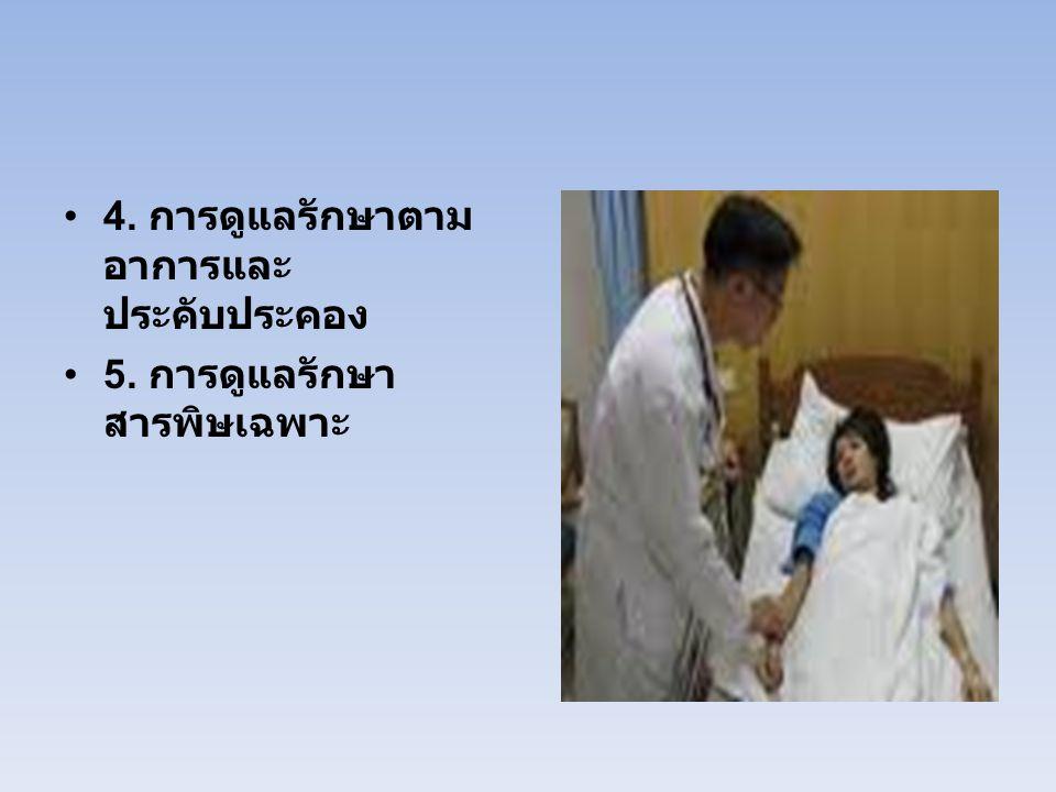 4. การดูแลรักษาตาม อาการและ ประคับประคอง 5. การดูแลรักษา สารพิษเฉพาะ