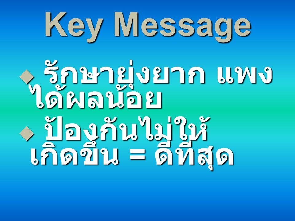 Key Message  รักษายุ่งยาก แพง ได้ผลน้อย  ป้องกันไม่ให้ เกิดขึ้น = ดีที่สุด