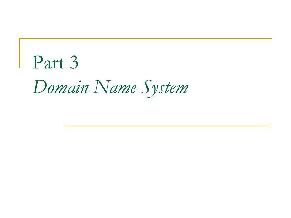 Root name server Name server หนึ่ง ๆ จะมีฐานข้อมูลของเครื่องที่ อยู่ใน zone ของตนเท่านั้น หา name server ได้รับการร้องขอให้แปลง domain name ที่ไม่ได้อยู่ใน zone ของตน name server นั้นจะส่งต่อคำร้องขอไปยัง root name server root name server จะให้บริการ DNS สำหรับ top -level domain name และให้รายชื่อ name server ที่จะอ้างถึงต่อไปในระดับย่อยลงมา