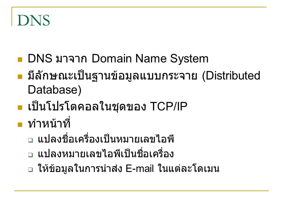 DNS DNS มาจาก Domain Name System มีลักษณะเป็นฐานข้อมูลแบบกระจาย (Distributed Database) เป็นโปรโตคอลในชุดของ TCP/IP ทำหน้าที่  แปลงชื่อเครื่องเป็นหมายเลขไอพี  แปลงหมายเลขไอพีเป็นชื่อเครื่อง  ให้ข้อมูลในการนำส่ง E-mail ในแต่ละโดเมน