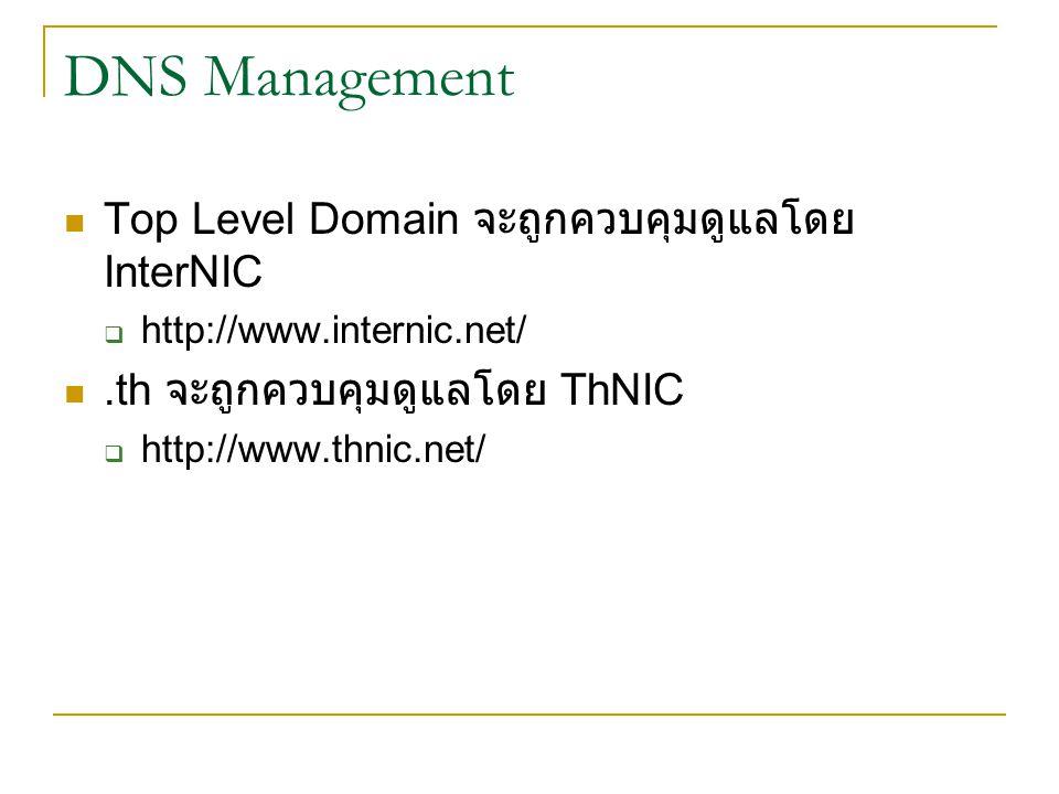 DNS Management Top Level Domain จะถูกควบคุมดูแลโดย InterNIC  http://www.internic.net/.th จะถูกควบคุมดูแลโดย ThNIC  http://www.thnic.net/