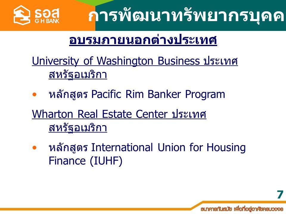 7 University of Washington Business ประเทศ สหรัฐอเมริกา หลักสูตร Pacific Rim Banker Program Wharton Real Estate Center ประเทศ สหรัฐอเมริกา หลักสูตร In