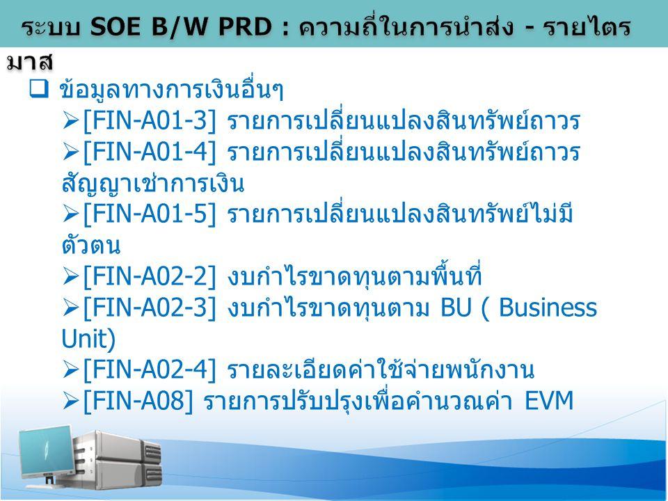  ข้อมูลทางการเงินอื่นๆ  [FIN-A01-3] รายการเปลี่ยนแปลงสินทรัพย์ถาวร  [FIN-A01-4] รายการเปลี่ยนแปลงสินทรัพย์ถาวร สัญญาเช่าการเงิน  [FIN-A01-5] รายการเปลี่ยนแปลงสินทรัพย์ไม่มี ตัวตน  [FIN-A02-2] งบกำไรขาดทุนตามพื้นที่  [FIN-A02-3] งบกำไรขาดทุนตาม BU ( Business Unit)  [FIN-A02-4] รายละเอียดค่าใช้จ่ายพนักงาน  [FIN-A08] รายการปรับปรุงเพื่อคำนวณค่า EVM