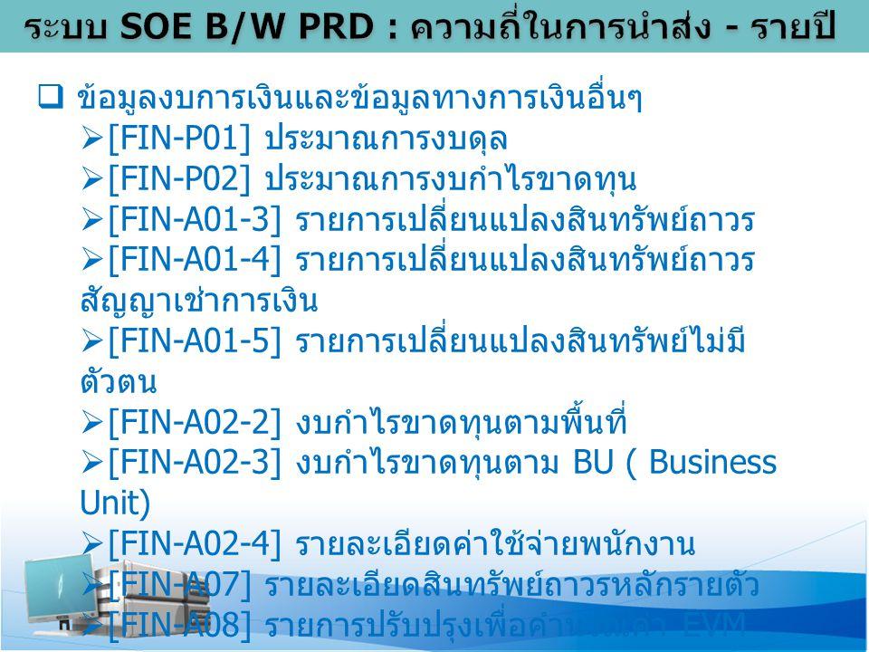  ข้อมูลงบการเงินและข้อมูลทางการเงินอื่นๆ  [FIN-P01] ประมาณการงบดุล  [FIN-P02] ประมาณการงบกำไรขาดทุน  [FIN-A01-3] รายการเปลี่ยนแปลงสินทรัพย์ถาวร  [FIN-A01-4] รายการเปลี่ยนแปลงสินทรัพย์ถาวร สัญญาเช่าการเงิน  [FIN-A01-5] รายการเปลี่ยนแปลงสินทรัพย์ไม่มี ตัวตน  [FIN-A02-2] งบกำไรขาดทุนตามพื้นที่  [FIN-A02-3] งบกำไรขาดทุนตาม BU ( Business Unit)  [FIN-A02-4] รายละเอียดค่าใช้จ่ายพนักงาน  [FIN-A07] รายละเอียดสินทรัพย์ถาวรหลักรายตัว  [FIN-A08] รายการปรับปรุงเพื่อคำนวณค่า EVM