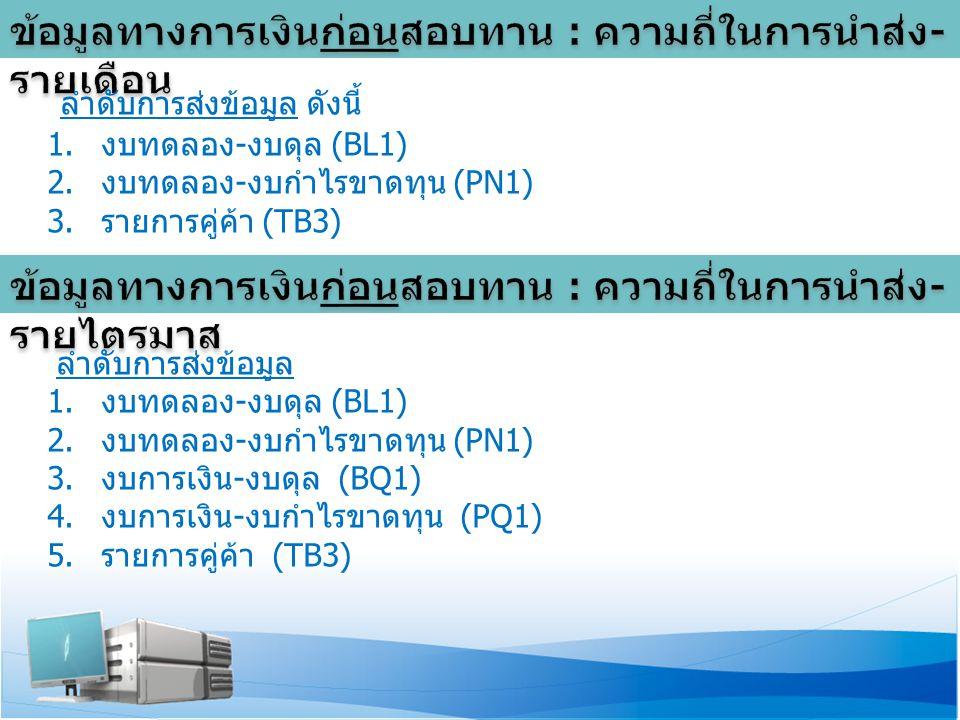 ลำดับการส่งข้อมูล ดังนี้ 1.งบทดลอง - งบดุล (BL1) 2.