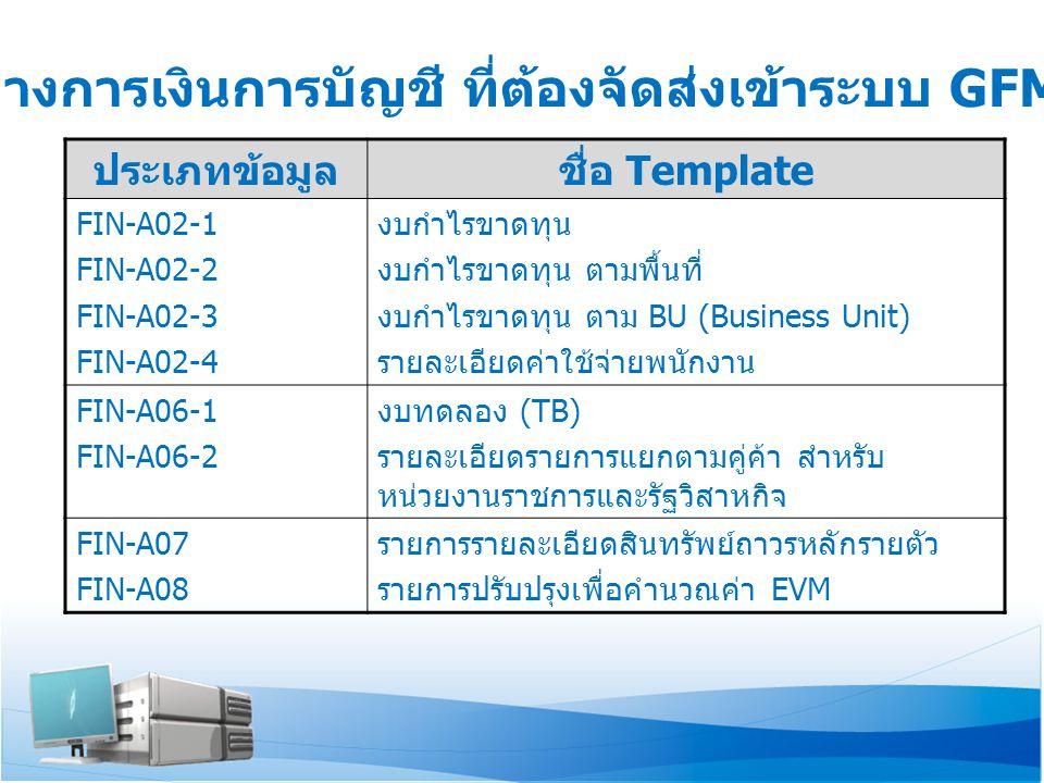 ประเภทข้อมูลชื่อ Template FIN-A02-1 FIN-A02-2 FIN-A02-3 FIN-A02-4 งบกำไรขาดทุน งบกำไรขาดทุน ตามพื้นที่ งบกำไรขาดทุน ตาม BU (Business Unit) รายละเอียดค่าใช้จ่ายพนักงาน FIN-A06-1 FIN-A06-2 งบทดลอง (TB) รายละเอียดรายการแยกตามคู่ค้า สำหรับ หน่วยงานราชการและรัฐวิสาหกิจ FIN-A07 FIN-A08 รายการรายละเอียดสินทรัพย์ถาวรหลักรายตัว รายการปรับปรุงเพื่อคำนวณค่า EVM ข้อมูลทางการเงินการบัญชี ที่ต้องจัดส่งเข้าระบบ GFMIS-SOE