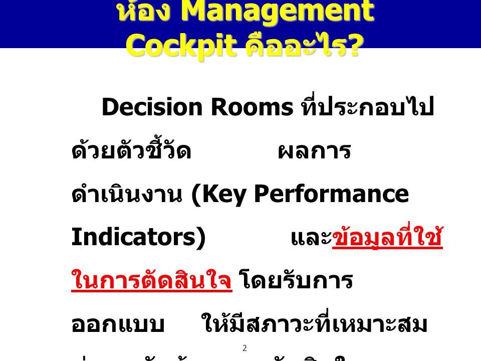 2 ห้อง Management Cockpit คืออะไร ? Decision Rooms ที่ประกอบไป ด้วยตัวชี้วัด ผลการ ดำเนินงาน (Key Performance Indicators) และข้อมูลที่ใช้ ในการตัดสินใ