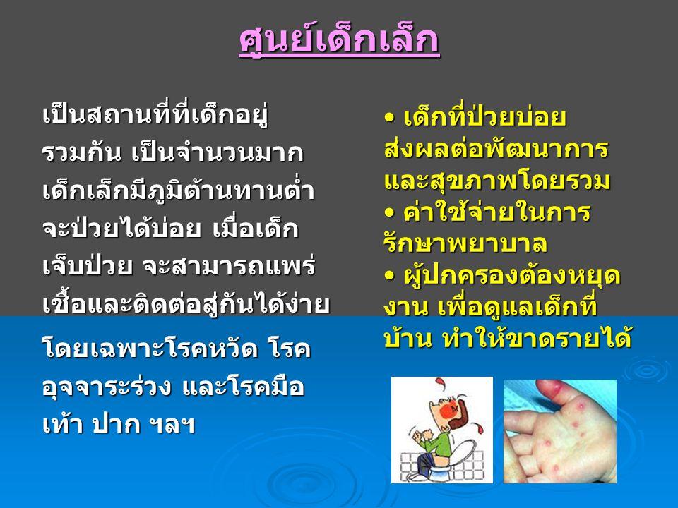 โรคที่พบในศูนย์เด็กเล็ก โรคที่พบบ่อย - โรคมือ เท้า ปาก - โรคหวัด - โรคอุจจาระร่วง เฉียบพลัน โรคอื่นๆ ที่พบได้ - โรคที่ป้องกันได้ด้วย วัคซีน เช่น หัด คางทูม หัดเยอรมัน - โรคตาแดง - โรคอีสุกอีใส - โรคพิษสุนัขบ้า ฯลฯ