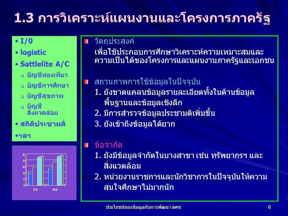 ประโยชน์ของข้อมูลกับการพัฒนา สศช.17 7. ทิศทางการพัฒนาข้อมูลของ สศช.
