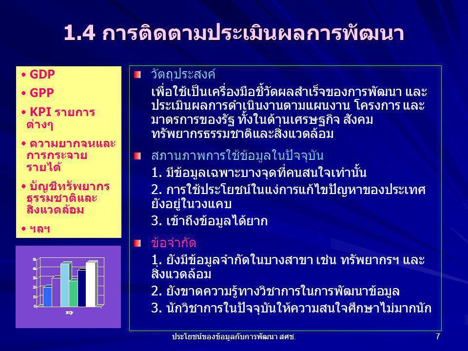 ประโยชน์ของข้อมูลกับการพัฒนา สศช.18 7. ทิศทางการพัฒนาข้อมูลของ สศช.