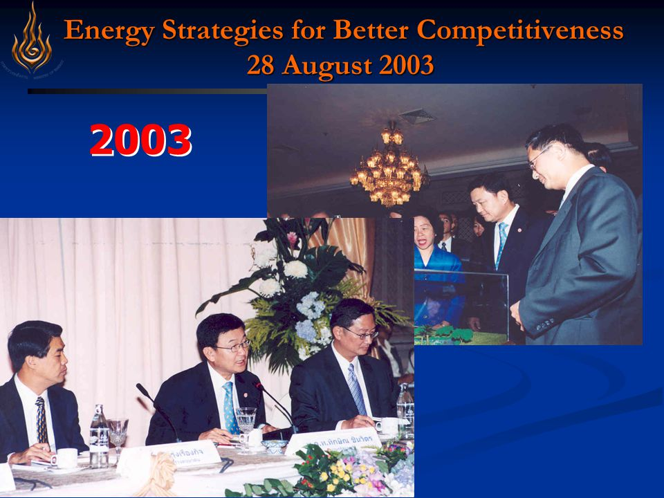 Strategy 1.Improve EE in Transportation Sector Objective ประเทศไทยมี พลังงานใช้ อย่างต่อเนื่อง เพียงพอต่อ ความต้องการ ไปอีก 50 ปี ประชาชนมี พลังงานใช้ อย่างทั่วถึง ในราคาที่เป็น ธรรมและเพื่อ คุณภาพชีวิต ที่ดีขึ้น Improve end- use energy efficiency 1 1 2 2 ประเทศไทย เป็นศูนย์กลาง พลังงานใน ภูมิภาค 3 3 4 4 Cooperate with Ministry of Transportation to improve structure of public transports Changing Modes from roads to rails Good Management of mass transportation Comprehensive development of transportation system – integration of water and railways Enhance City planning Promote high efficient cars using tax incentives Promotion campaign to change behaviors Ect.